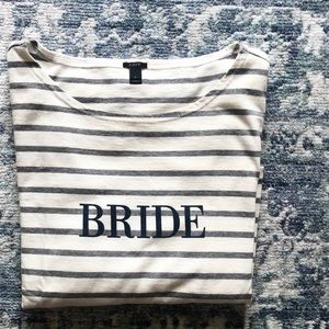 J CREW Bride Striped Longsleeve Tee Size Large